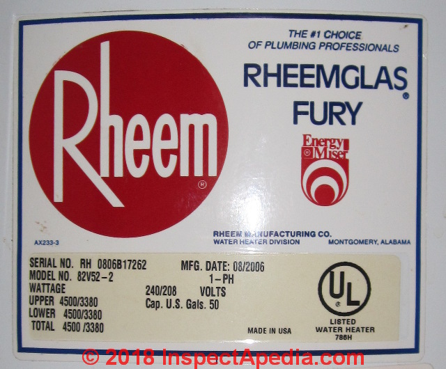 Rheem Contact, Water Heater Age Serial Number Decoder & Rheem Water Heater  ManualsInspectAPedia.com