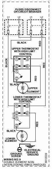 electric water heater heating element replacement procedure, Wiring diagram
