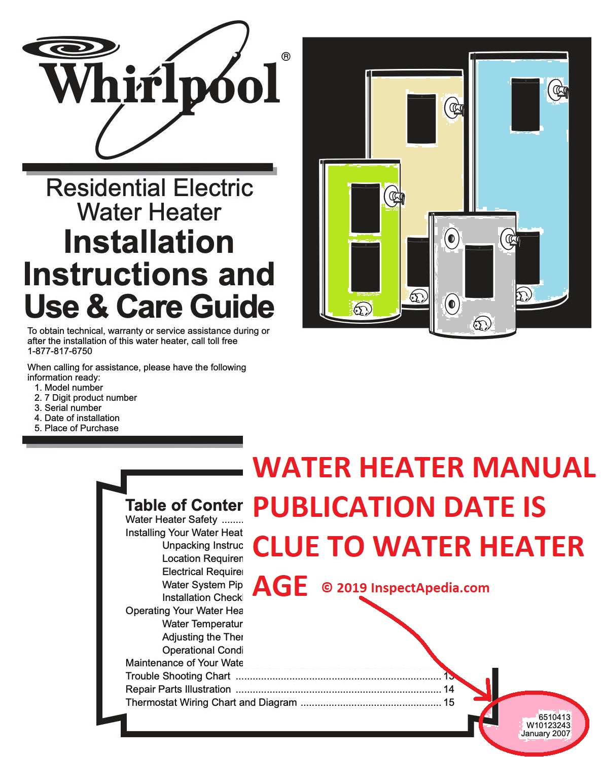 whirlpool water heater age