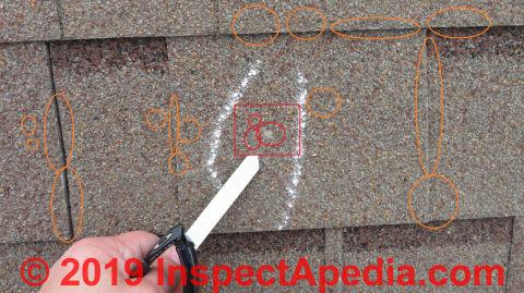 Asphalt roof shingle hail damage claim procedure & results (C) Inspectapedia.com JenkinsP