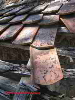 Collapsing clay tile roof © D Friedman at InspectApedia.com