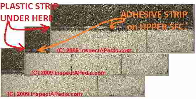 Asphalt shingle cellophane / plastic strip location vs sealant glue strips (C) Daniel Friedman