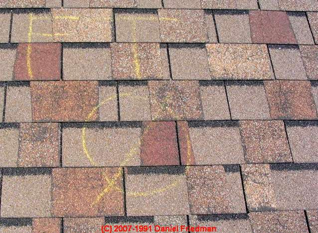 asphalt roof shingle hail damage marking codes hail damage