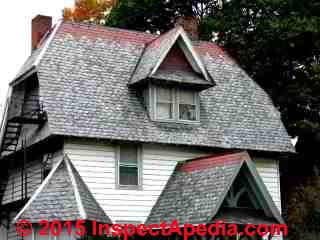Photos of red slate roofing material in good condition