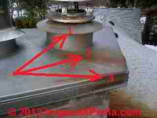 Red roof stains traced to chimney (C) InspectApedia