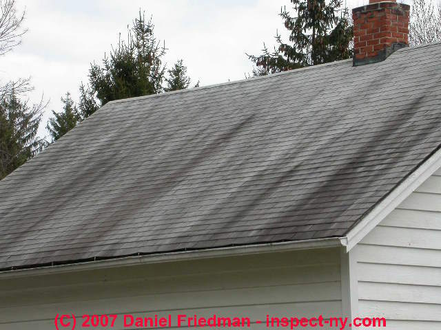 Asphalt Roll Roofing : Extractive bleeding shingle stains cause diagnosis of