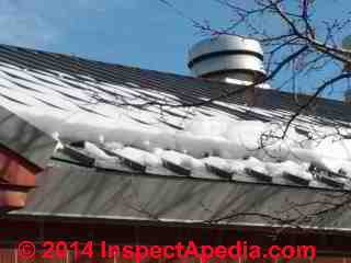 Snow guards at work on a metal roof, Vassar College (C) 2013 Daniel Friedman