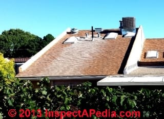 White stains on asphalt shingle roofs in New Mexico (C) InspectAPedia & JM