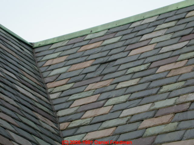 Multi Colored Slate Roof In Conventional Staggered Pattern