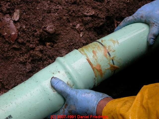 Steep slope sewer or septic line installation guide for Sewer drain pipe