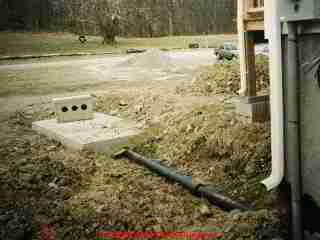 Photograph of  a conventional septic tank during installation.