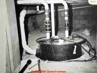 Photo of a common sewage ejector pump used in a modern basement