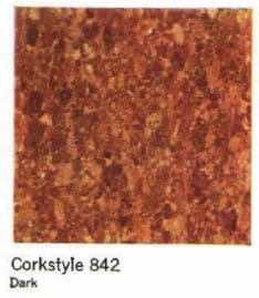 Armstrong vinyl asbestos floor tile in cork pattern (C) InspectApedia