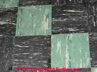 Armstrong Asphalt Asbestos Floor Tile Photos, green & black (C) InspectAPedia  and Chalmers