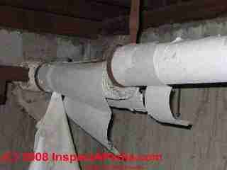 Asbestos heating pipe insulation in poor condition