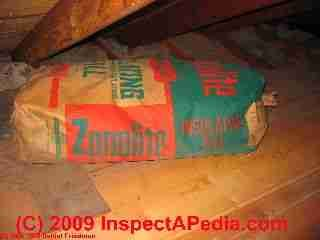 Vermiculite insulation still in the original bag in this attic ceiling may contain asbestos fibers.