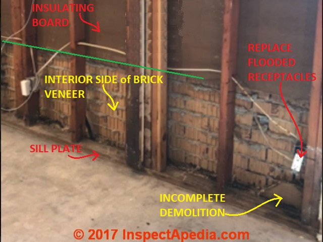 Interior View Of Brick Veneer Wall After Partial Demolition (C)  InspectApedia.com Bb