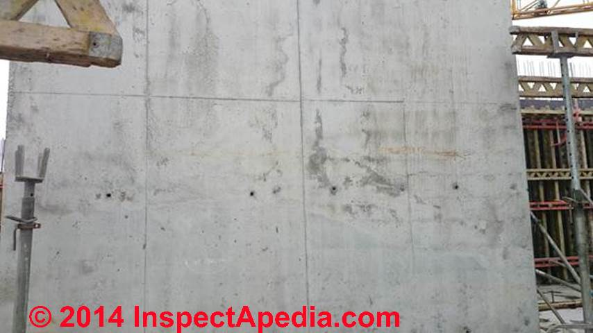 Dark Areas Suggesting Cold Pour Joints In A Concrete Wall C Inspectapedia Ci
