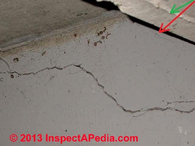 indicated by examining floor shrinkage cracks at the foundation walls