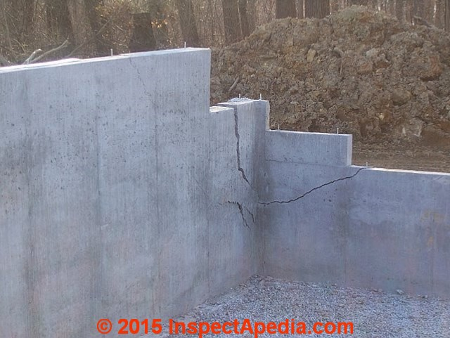 Diagnose evaluate diagonal cracks in concrete Foundation pouring