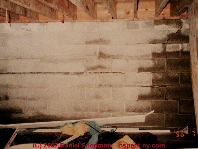 Types of cracks damage in block foundation walls for Cinder block foundation