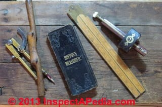 Hoppus's Measurer book & antique carpentry tools (C) Daniel Friedman