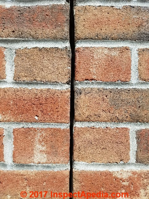 Thermal expansion cracks in brick walls foundations