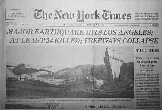 Image of the New York Times front page reporting the Northridge Earthquake - The New York Times