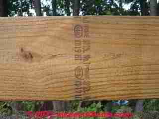 Pressure treated lumber marking codes (C) Daniel Friedman