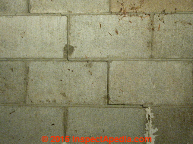 step cracks in a concrete block wall need repair and remediation daniel friedman at inspectapedia - Fixing Foundation Cracks