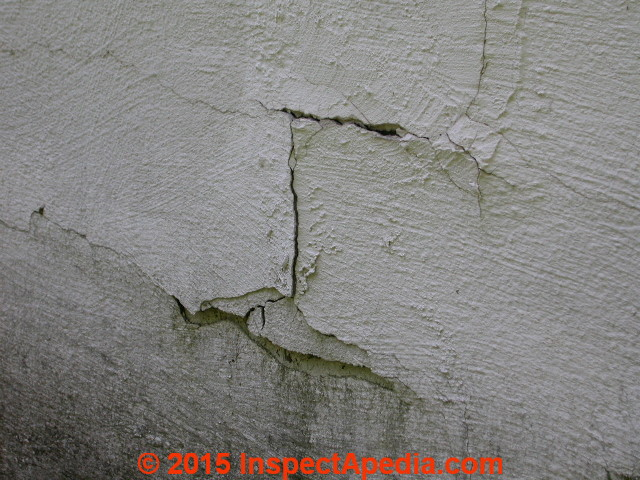 Diagnose evaluate step cracks in concrete block walls foundations concret block wall diagonal step cracking shows thorugh foundation coating daniel friedman at inspectapedia solutioingenieria Images