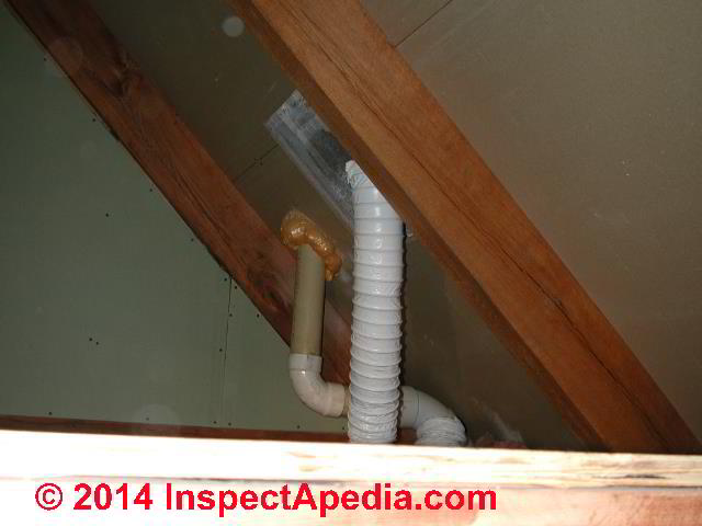 Flex duct bath exhaust vent fan terminating straight up through the roof  surface  C. Routing a bath vent duct down   out or up through an attic or roof