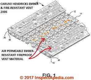 Fire and ember resistant soffit vent, Caruso Hendricks Patent US20080220714A1 at InspectApedia.com