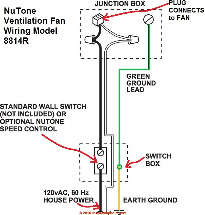 Guide to Installing Bathroom Vent Fans | Bathroom Fan Light Wire Diagram |  | InspectAPedia.com