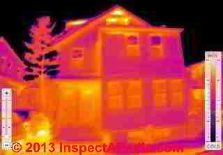 Thermal imaging report of heat loss on a home (C) InspectApedia