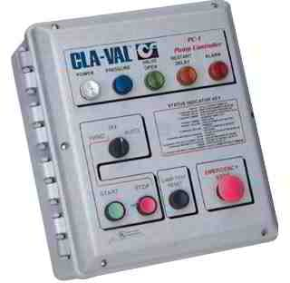 Cla-Val PC-1 Pump Control Panel with status indicator lights, Cla-Val Inc., www.cla-val.com