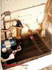 Open water well or cistern in a home basement - unsanitary (C) InspectApedia
