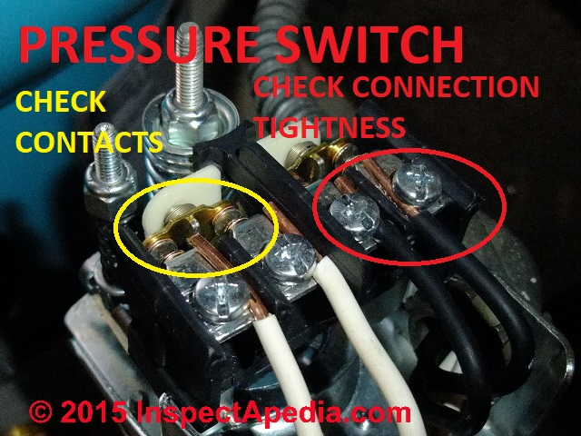 how to install or replace a water pump pressure control private rh inspectapedia com wiring pump pressure switch wiring diagram rule bilge pump switch